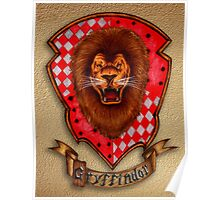 Lion Head with Red Shield Poster