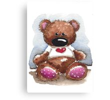 Teddy Bear with heart shirt Canvas Print