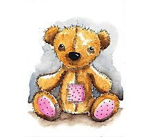 Teddy Bear with patch Photographic Print