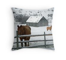 horses and barn in snow covered field , near Kamloops , British Columbia Throw Pillow