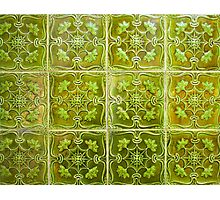 green ceramic. tiles in lisbon Photographic Print