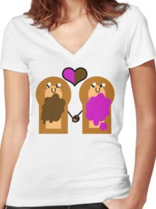 Sammich Love  Women's Fitted V-Neck T-Shirt