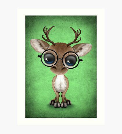 Cute Curious Nerdy Reindeer Wearing Glasses Green Art Print