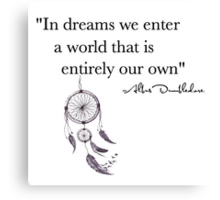 Dumbledore dream quote Harry Potter Canvas Print
