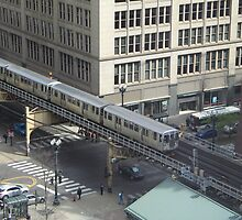 Chicago Illinois USA Street Scene From Above by Jonathan  Green