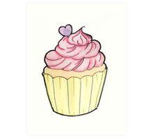 Vanilla & strawberry cupcake  Art Print