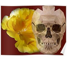 Yellow hibiscus and skull Poster