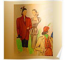 neonflash vintage fabrics women hats Poster