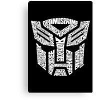 Transformer Autobots White Canvas Print