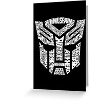 Transformer Autobots White Greeting Card