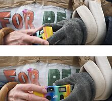 miserable looking bugger with a toy camera (diptych) by Umbra101