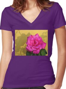 Pink Rose On Yellow Women's Fitted V-Neck T-Shirt