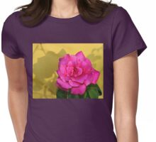 Pink Rose On Yellow Womens Fitted T-Shirt