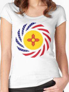 New Mexican Murican Patriot Flag Series Women's Fitted Scoop T-Shirt
