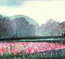 SPIRIT OF SPRING - ENCHANTED PINK TULIP-FIELD in the Park by RubaiDesign