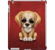Cute Golden Retriever Puppy Dog on Red iPad Case/Skin