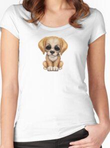Cute Golden Retriever Puppy Dog on Pink Women's Fitted Scoop T-Shirt
