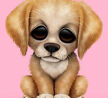 Cute Golden Retriever Puppy Dog on Pink by Jeff Bartels
