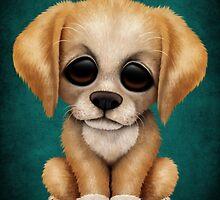 Cute Golden Retriever Puppy Dog on Teal Blue by Jeff Bartels