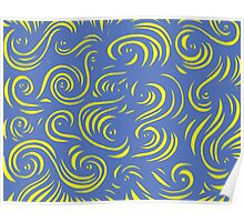 Rinaldo Abstract Expression Yellow Blue Poster