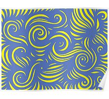 Mells Abstract Expression Yellow Blue Poster