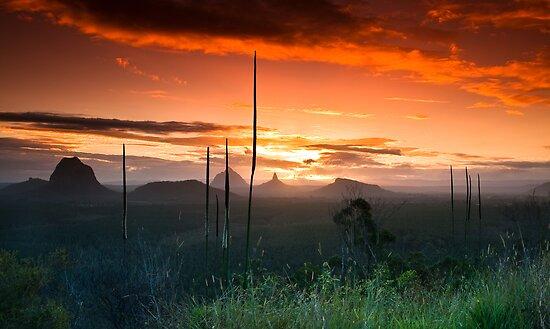 Glasshouse Mountains Sunset by Matthew Stewart
