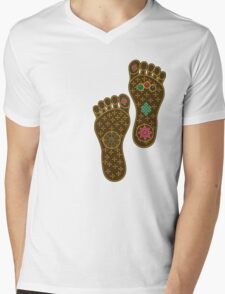 Footprints of the Buddha Mens V-Neck T-Shirt