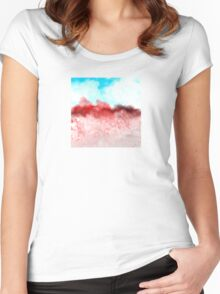 Blue Sky and Red Landscape Women's Fitted Scoop T-Shirt