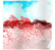 Blue Sky and Red Landscape Poster
