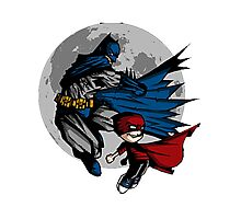 Batman and Calvin Hobbes Photographic Print