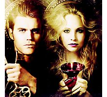 the vampire diaries - caroline forbes and stefan salvatore Photographic Print