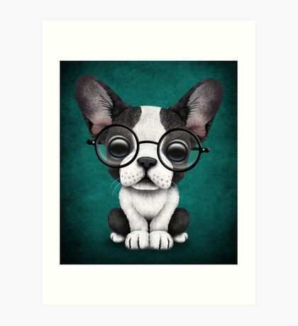 Cute French Bulldog Puppy with Glasses, Teal Blue Art Print