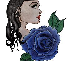 blue rose tattoo by grostique