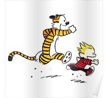 Calvin and Hobbes Running Man Poster