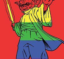 Rainbow Yoda Red Background by instinCKt