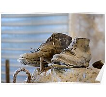 A well worn pair of boots, Bagno Vignoni, Tuscany Poster