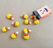 Cutie Crochet Candy Corns Halloween Card by riaartworld
