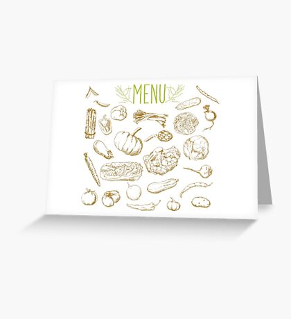 set of hand-painted vegetables Greeting Card