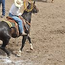 Ranch Rodeo, Dragging the calf to the brand. by Donna Ridgway