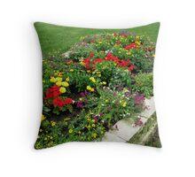 Flower Garden in My yard 1 Throw Pillow