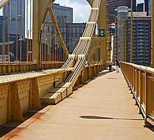 Yellow bridge in Pittsburgh by coralZ
