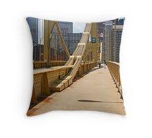 Yellow bridge in Pittsburgh Throw Pillow