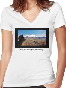 Mount St. Helens from Johnston Ridge Women's Fitted V-Neck T-Shirt