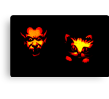 Jack-O-Lantern: Devil Scaring a Black Kitty Cat Canvas Print