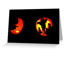 Jack-O-Lantern: Crescent Moon Shines on Ghostly Campsite Greeting Card