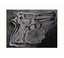 guns n flowers Art Print