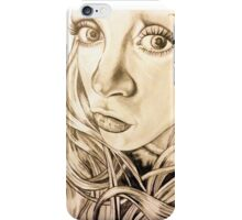 self portrait with black ink on white canvas with vintage filter. iPhone Case/Skin