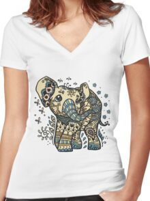 Mandala elephant Women's Fitted V-Neck T-Shirt