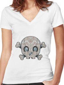 Damask Skull Women's Fitted V-Neck T-Shirt