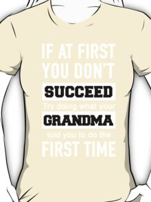 IF AT FIRST YOU DON'T SUCCEED TRY DOING WHAT YOUR GRANDMA TOLD YOU TO DO THE FIRST TIME T-Shirt